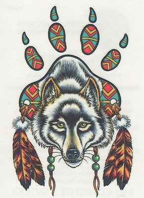 native american wolf dream catcher native american indian dream catcher wolf paw print feathers temporary