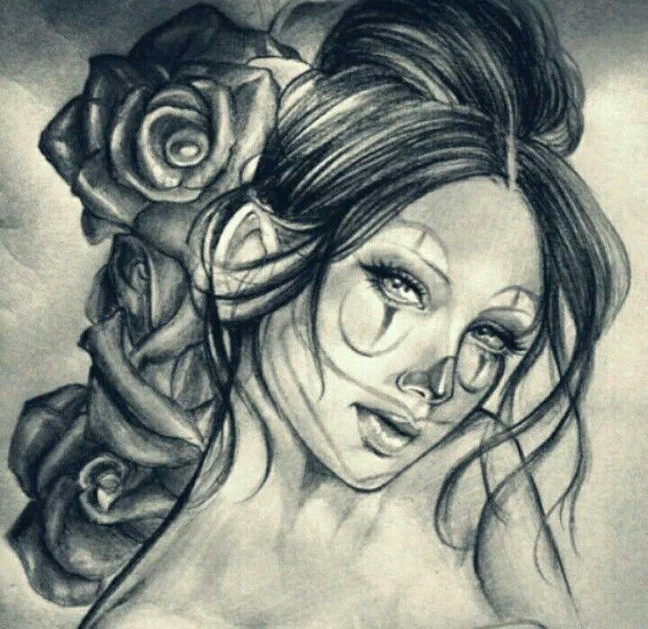 girl clown tattoo drawings art drawings mural art pencil art amai