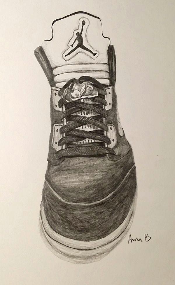 drawing of high top nike jordan trainer
