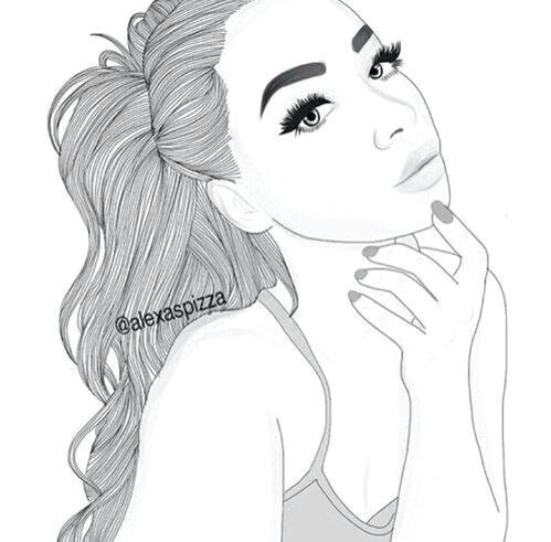 girl with high ponytail girl drawings tumblr outline drawings tumblr drawings grunge cute