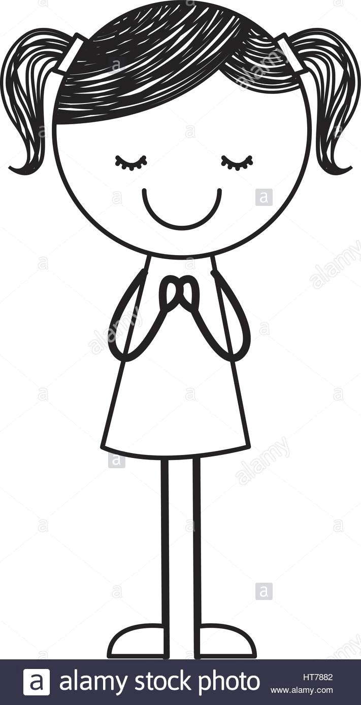 Drawing Little Girl Cartoon Cute Little Girl Drawing Character Stock Vector Art Illustration