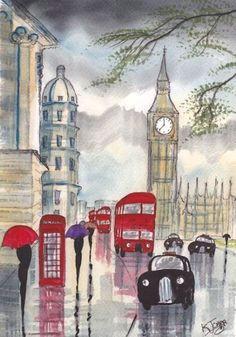 london rain london eye london bridge art carnet london calling