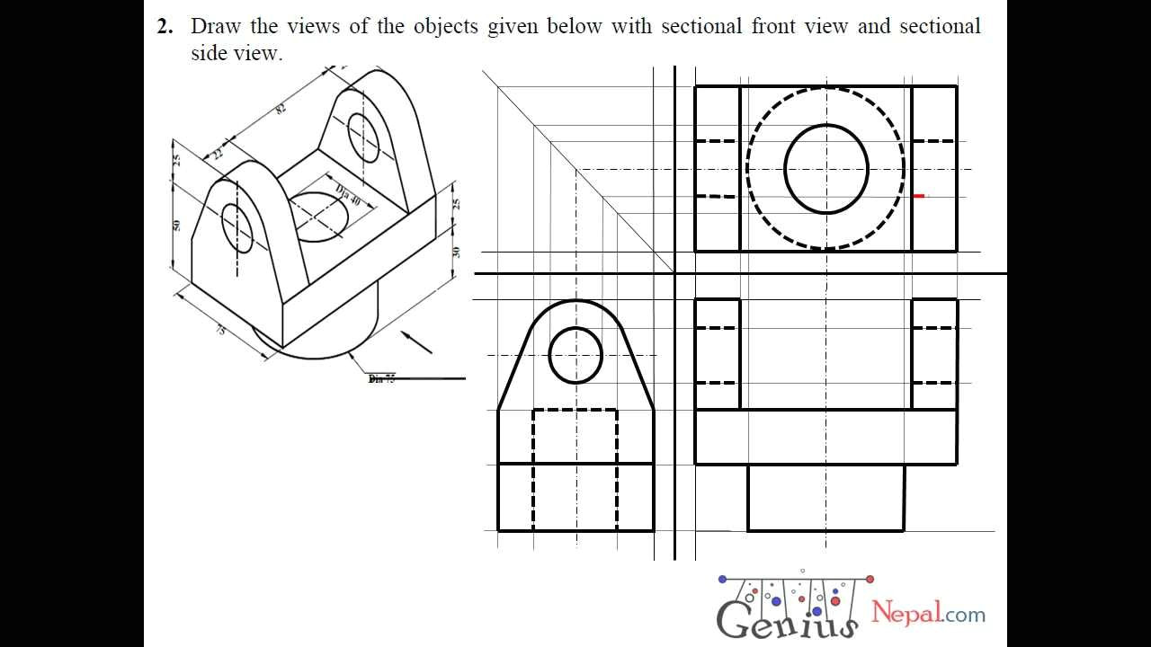 engineering drawing tutorials orthographic drawing with sectional front side view t 7 2a youtube