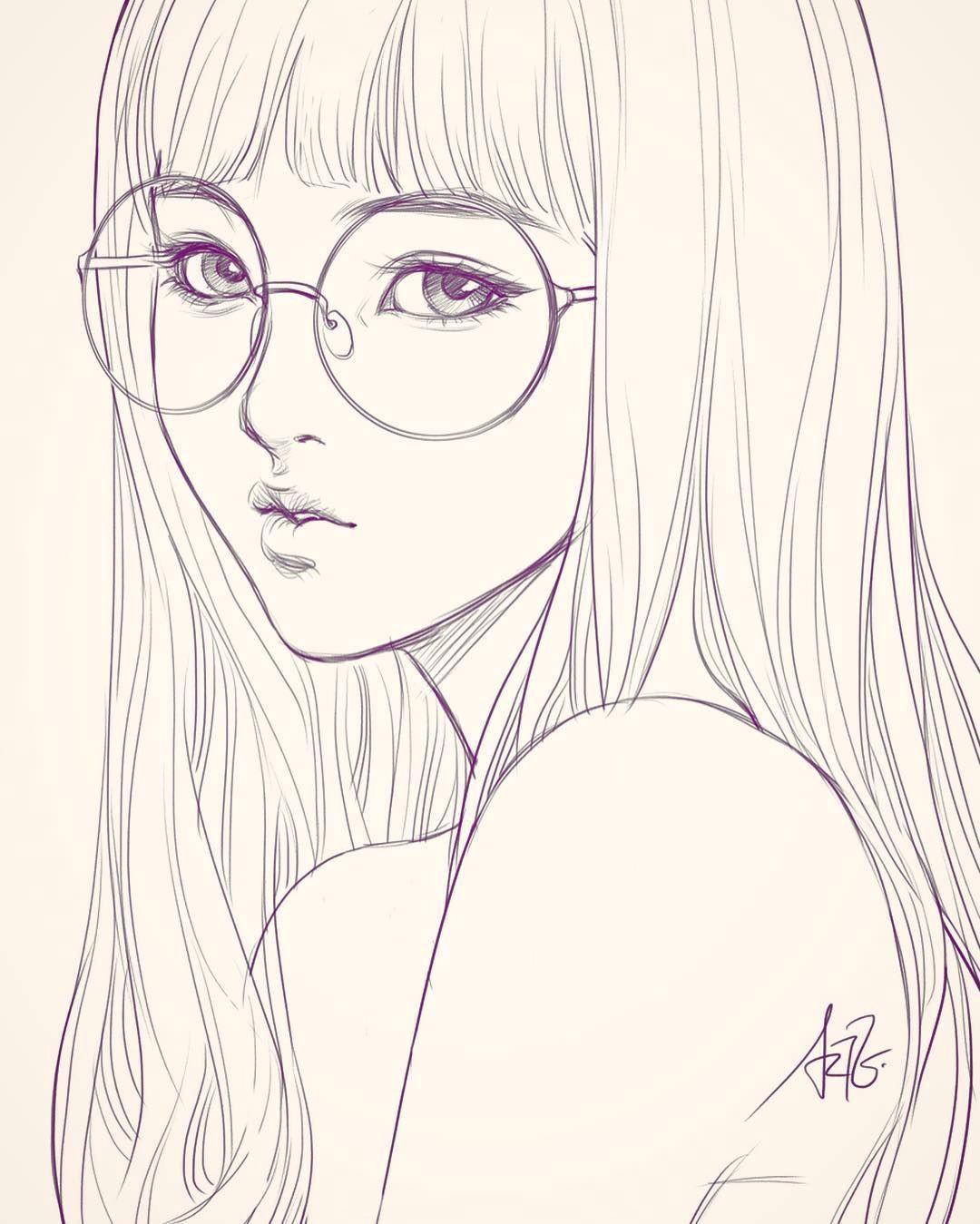 Drawing Manga Girl Eyes Last Sketch Of Girl with Glasses Having Bad Backache It Hurts