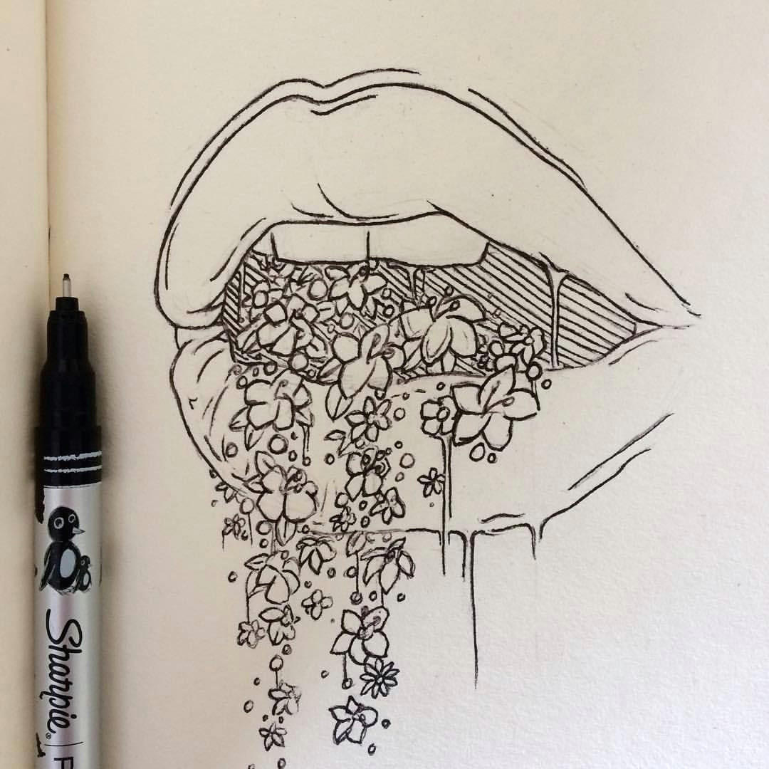all the pretty things i tried to say to you lexie pitzen reflexive art tattoo design ink illustration drawing artwork flowers