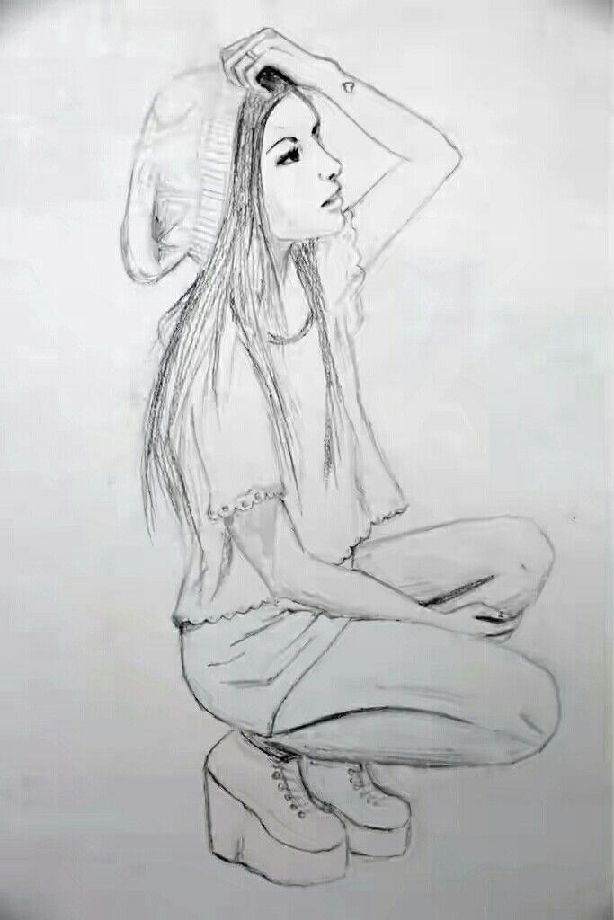 drawing of a sitting modern girl girl art drawing