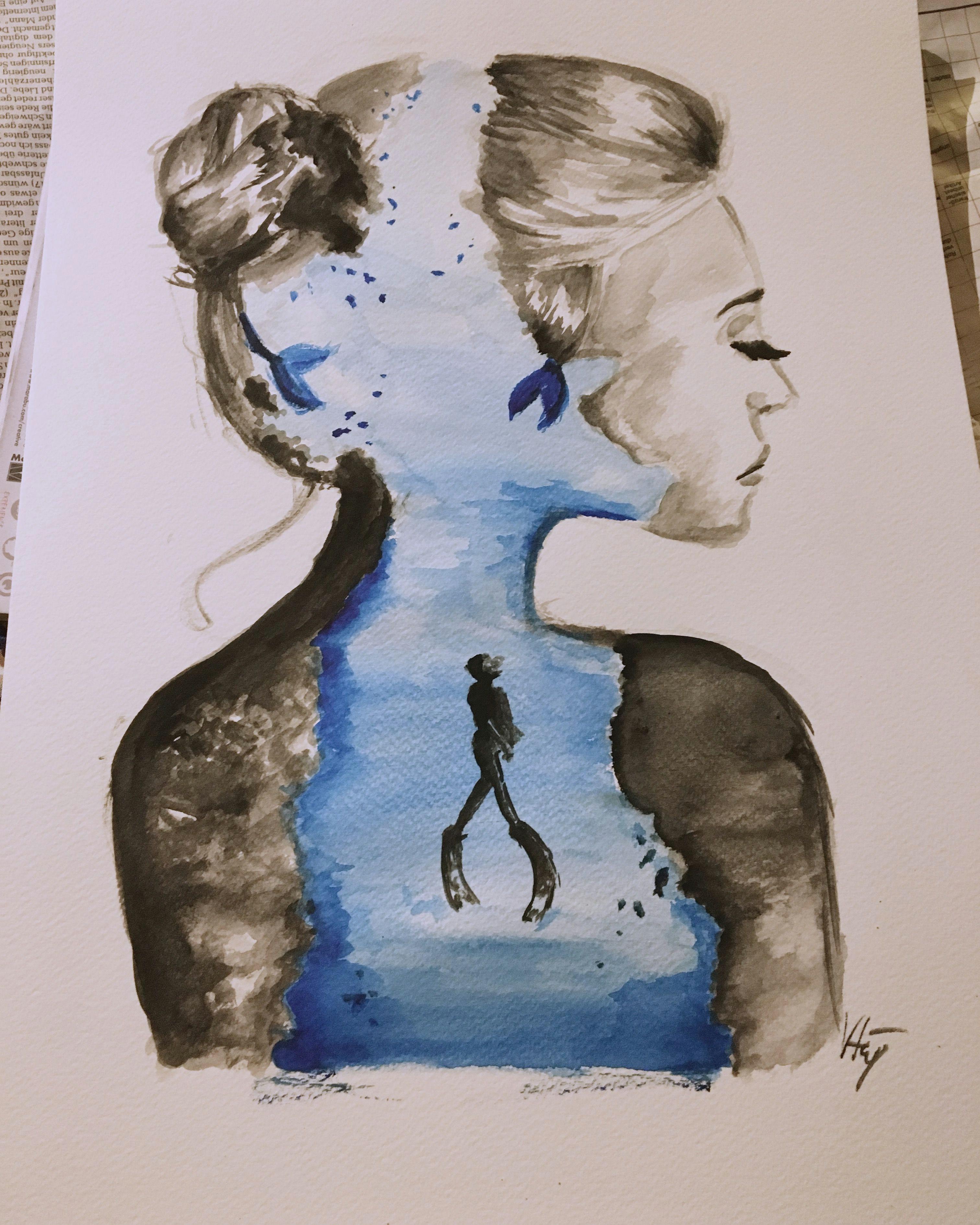 mine art artwork diving sea creative aquarelle drawing