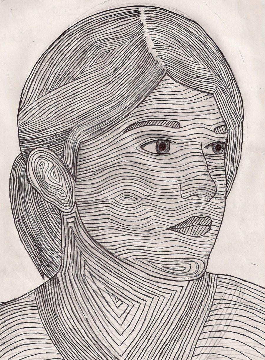 self portrait and contour lines
