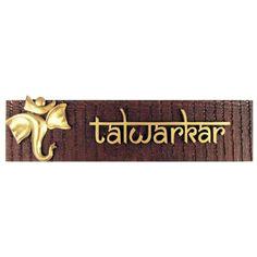 wood and gold ganpati motif name plate small talwarkar