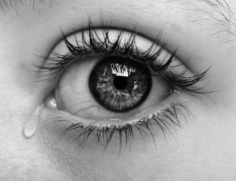 beautiful black and white crying dark