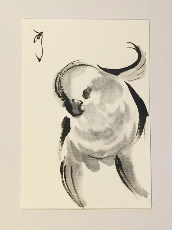 ink drawing japanese ink paintings parrot ink illustration bird drawing animal illustration mi