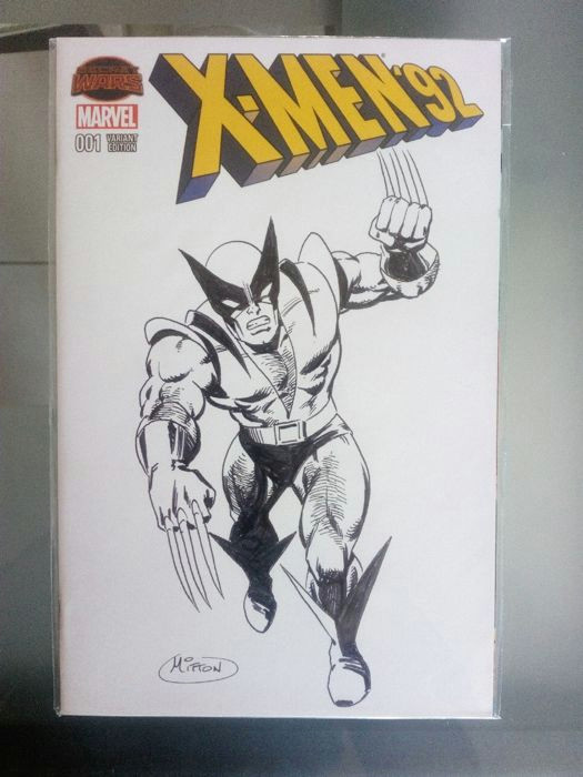 Drawing now Cartoon Mitton Jean Yves X Men 92 Blank Cover with original Wolverine