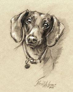 dog dachshund portrait doxie 7 instant by digitalscrapshop mini dachshund dachshund drawing