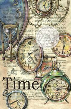 old clocks drawn on distressed dictionary page prints available for purchase at www