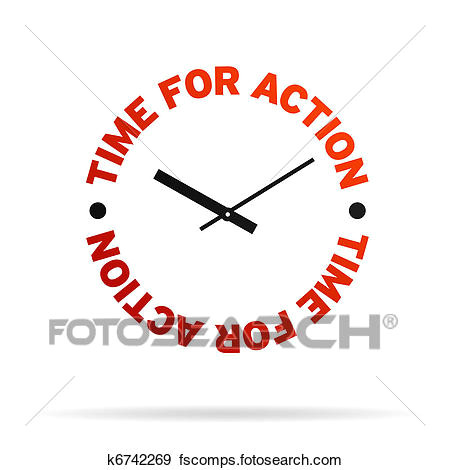 high resolution clock with the words time for action on white background