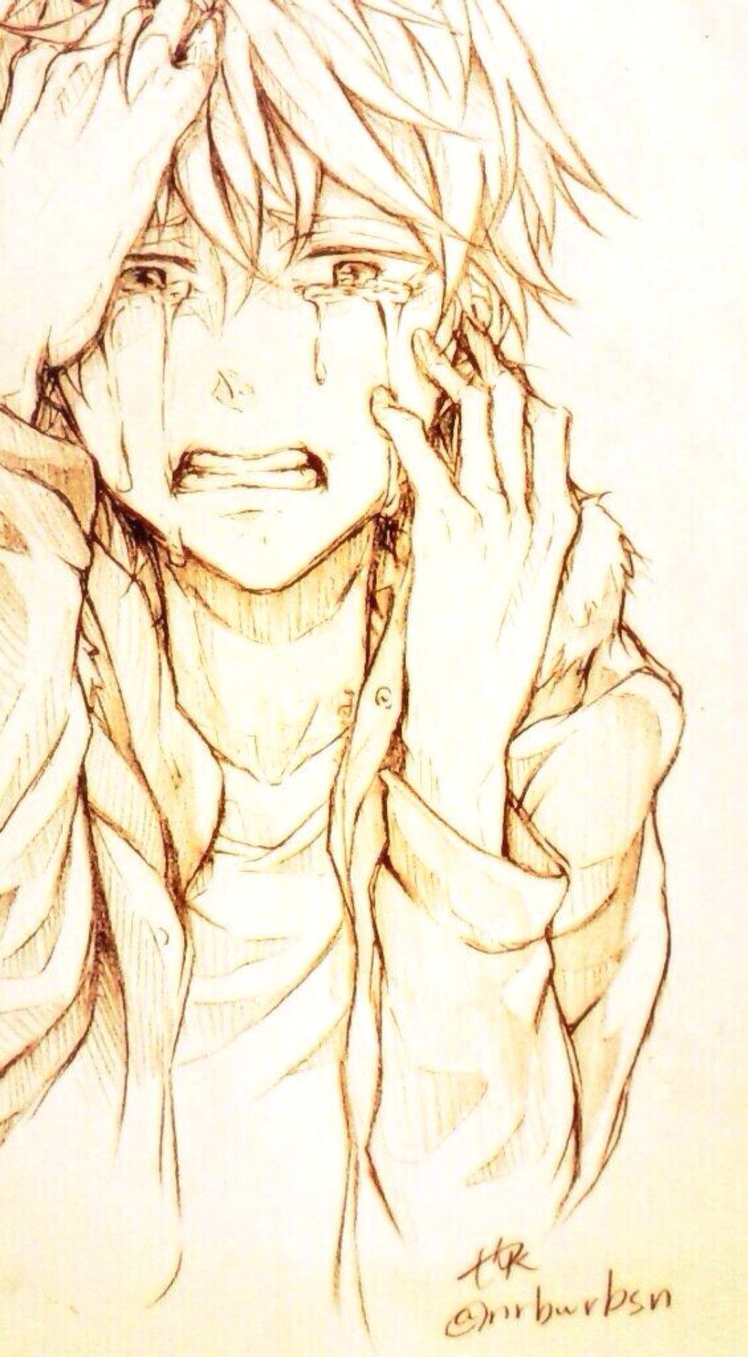 anime boy sketch anime boy drawing cry drawing drawing tears sad anime