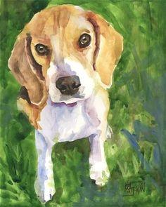 beagle art print of original watercolor painting 8x10 dog art