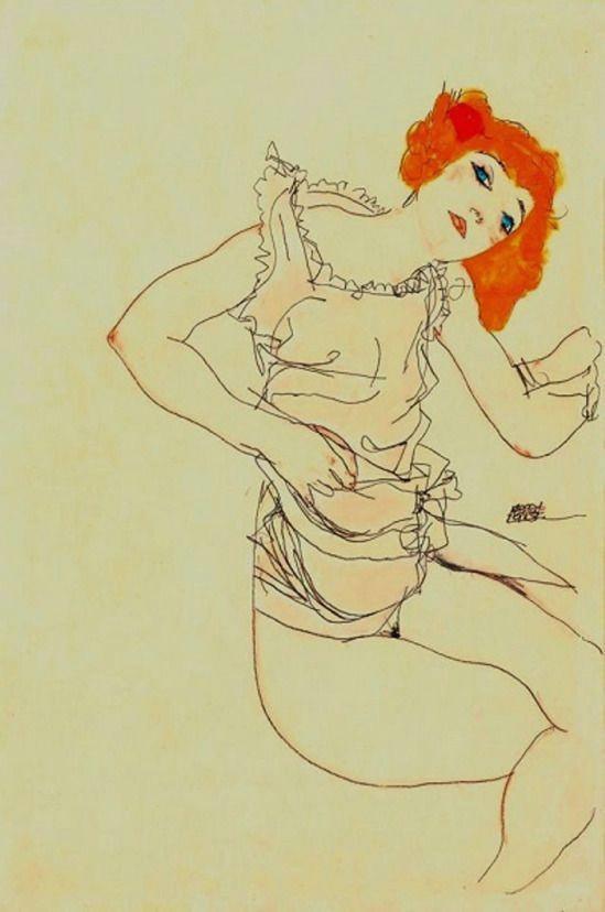 blond girl in underwear 1913