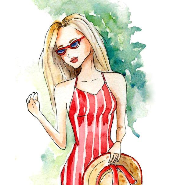 instant digital download watercolor fashion illustration fancy blond summer look watercolor gir