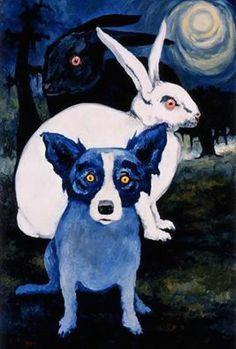 blue dog and bunnies blue dog painting blue dog art dog artist cat