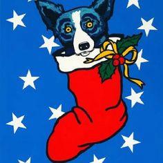 blue dog blue dog painting rock painting blue dog art christmas dog