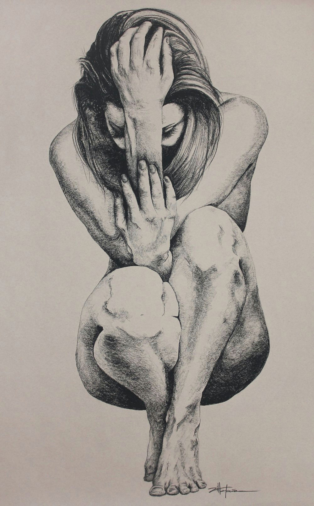 eve paradise lost aka crouching woman original art nude art female charcoal graphite drawing eve paradise lost aka crouching woman by marcy ann
