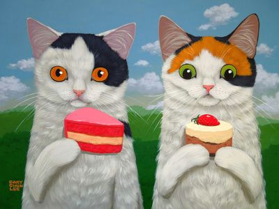 cakes and kittens art print calico cats and cupcakes