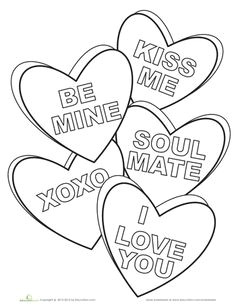 worksheets candy hearts coloring page