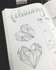 are you planning on adding hearts to your bullet journal this month if so try adding geometric shapes and lines to make your hearts more interesting