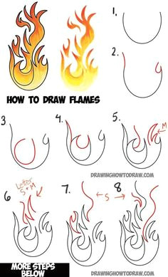 learn how to draw flames and drawing cartoon fire drawing tutorial drawing flames fire drawing