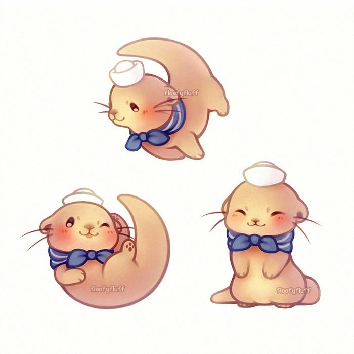 kawaii sailor otter cute animal drawings cute drawings kawaii drawings cute creatures