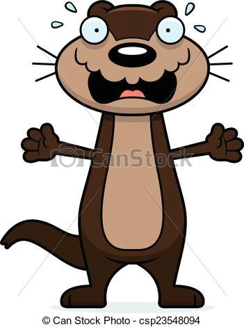 scared cartoon otter csp23548094
