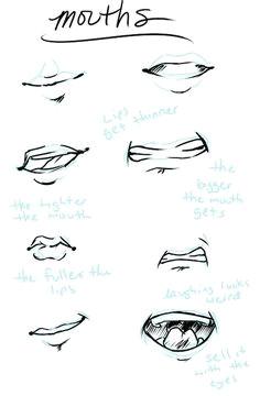 mouth tutorial drawing cartoon people cartoon sketches art sketches manga mouth manga