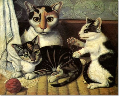 Drawing Of A Cat Playing Unknown American Artist Unknown Artist Cat and Kittens 1872