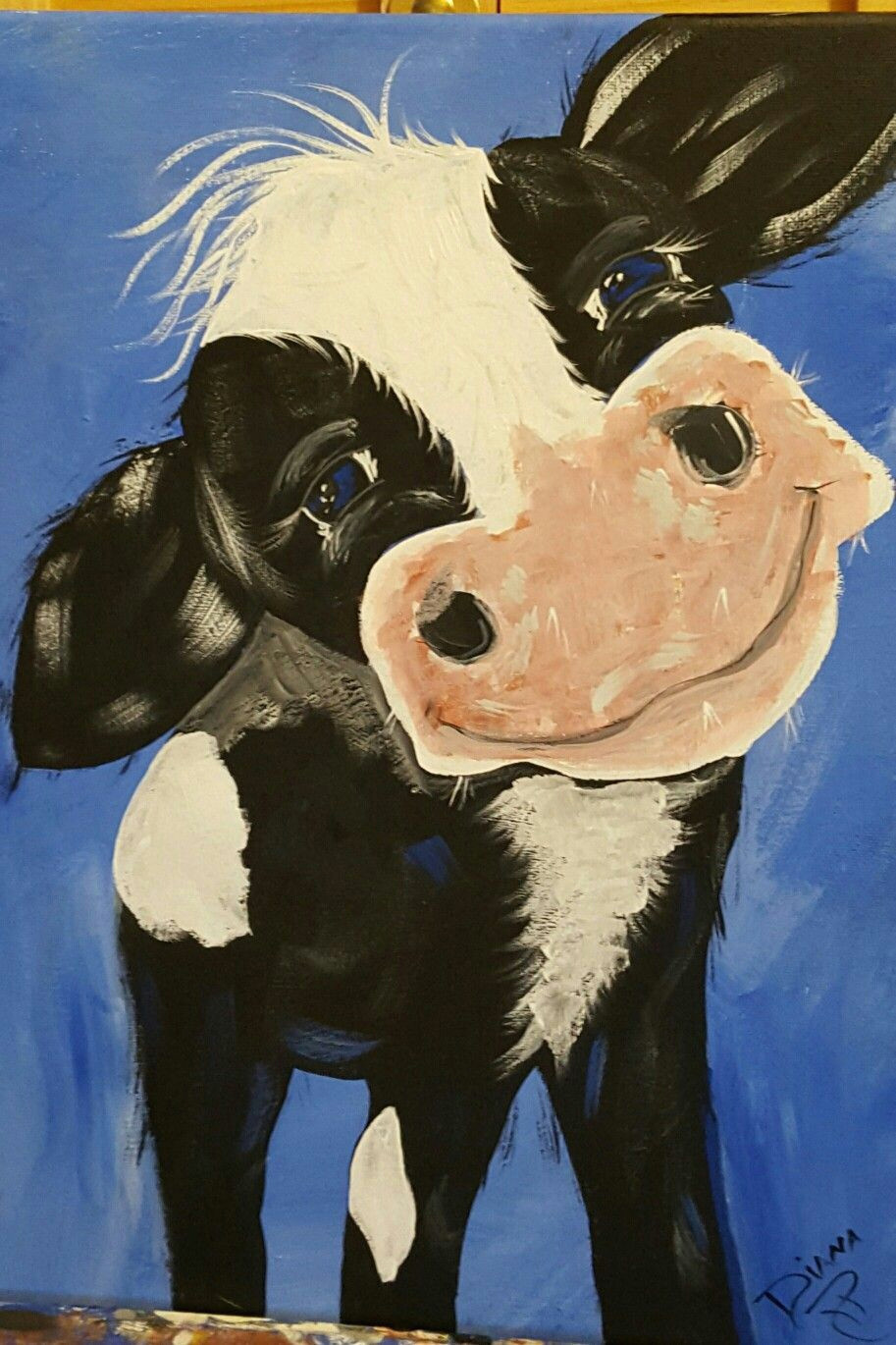 cow hand painted by diana roller rusticcanvaspainting