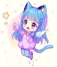 kawaii chibi kawaii neko girl chibi cat anime girl neko chibi anime
