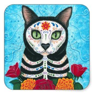 day of the dead cat sugar skull art sticker