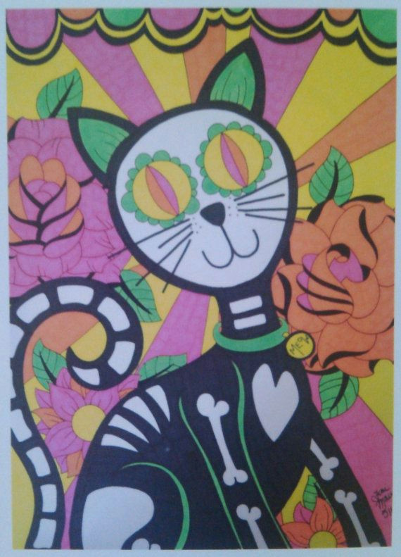 sugar skull cat day of the dead cat with roses 8x10 print dia de los muertos original alternative gift wall decor mexican inspired art