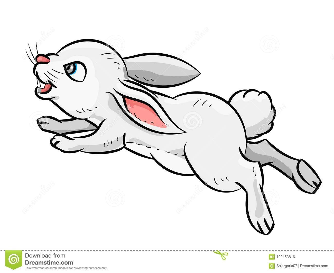 illustration of jumping smile rabbit isolated on white background children s illustration vector