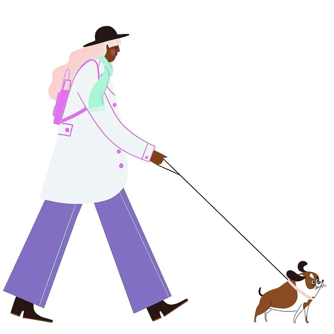 dog walker art drawing procreate illustration applepencil dogs