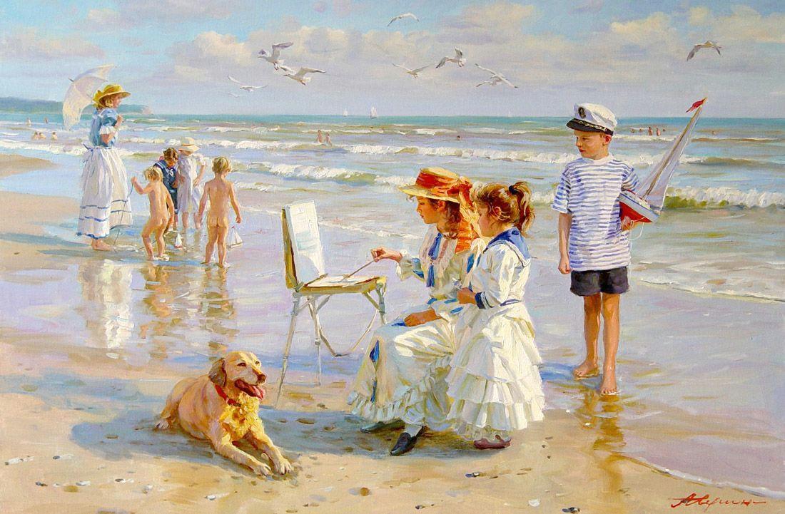 alexander averin beautiful paintings beach paintings seascape paintings beautiful drawings painting art