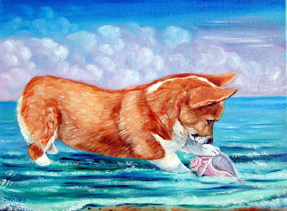 pembroke welsh corgi puppy dog original art oil painting seashell ocean beach