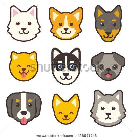 cartoon dog faces set different breeds of dogs husky corgi pug chihuahua doberman etc cute flat stickers set