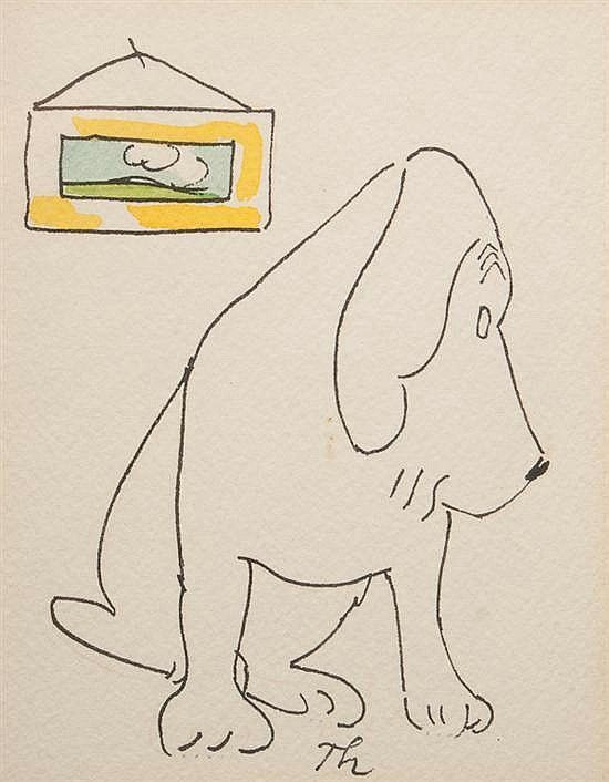 james thurber american 1894 1961 sitting dog pen and ink unpub invaluable