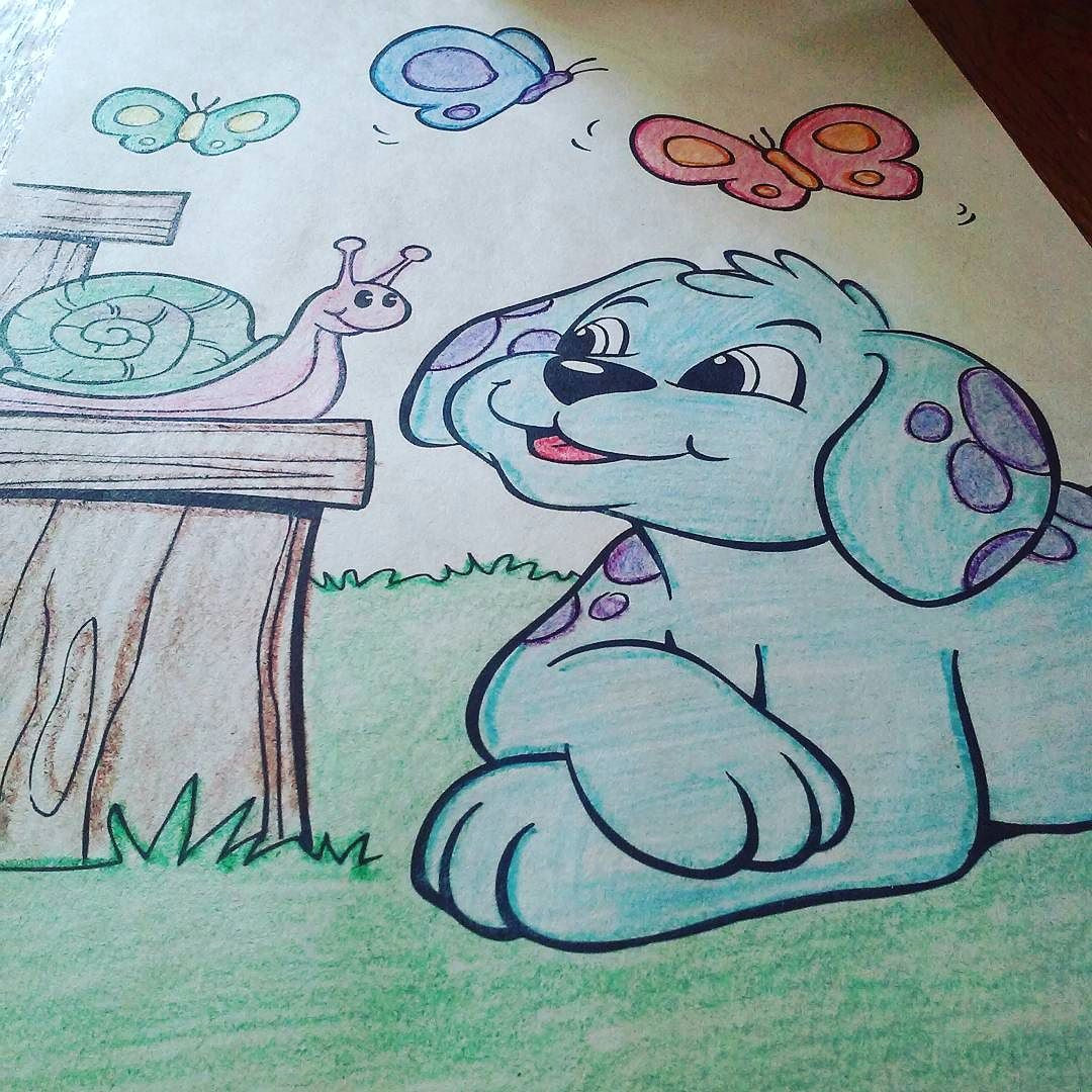 okay i know a dog can t be sky blue with purple dots but coloring