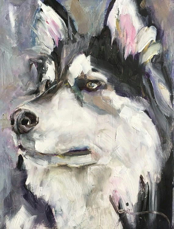 dog portrait original small oil painting one of a kind husky