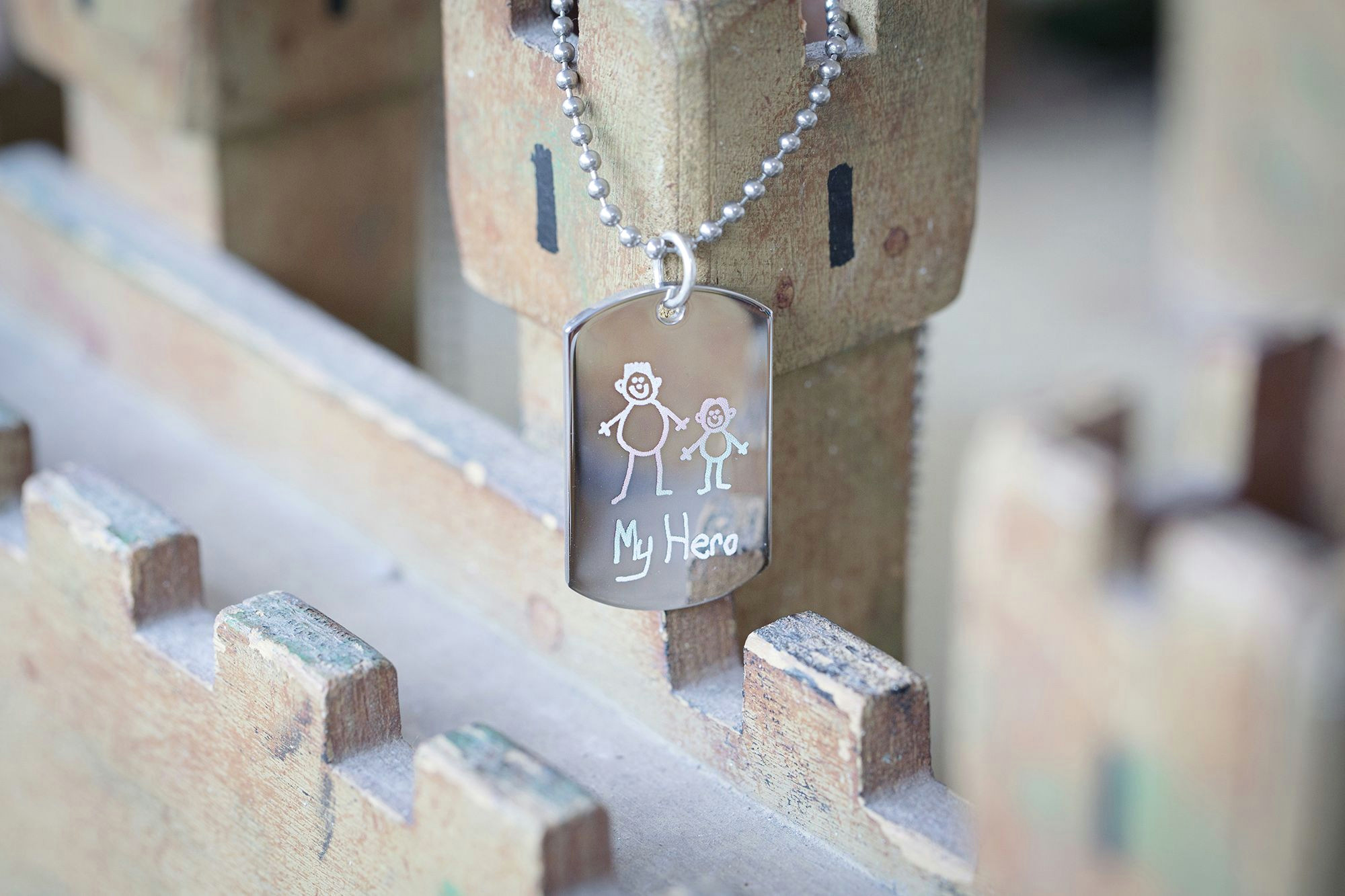 keep your loved ones close with this adorable engraved childrens drawing dog tag necklace have