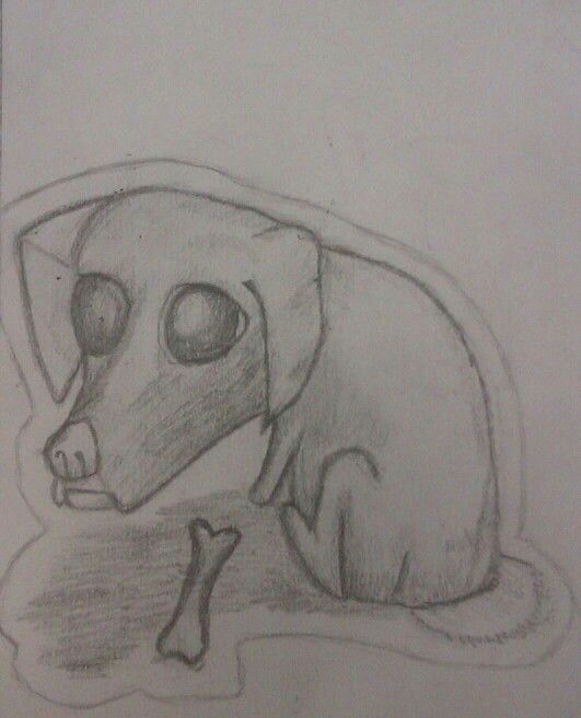 dog with bone pencil drawing