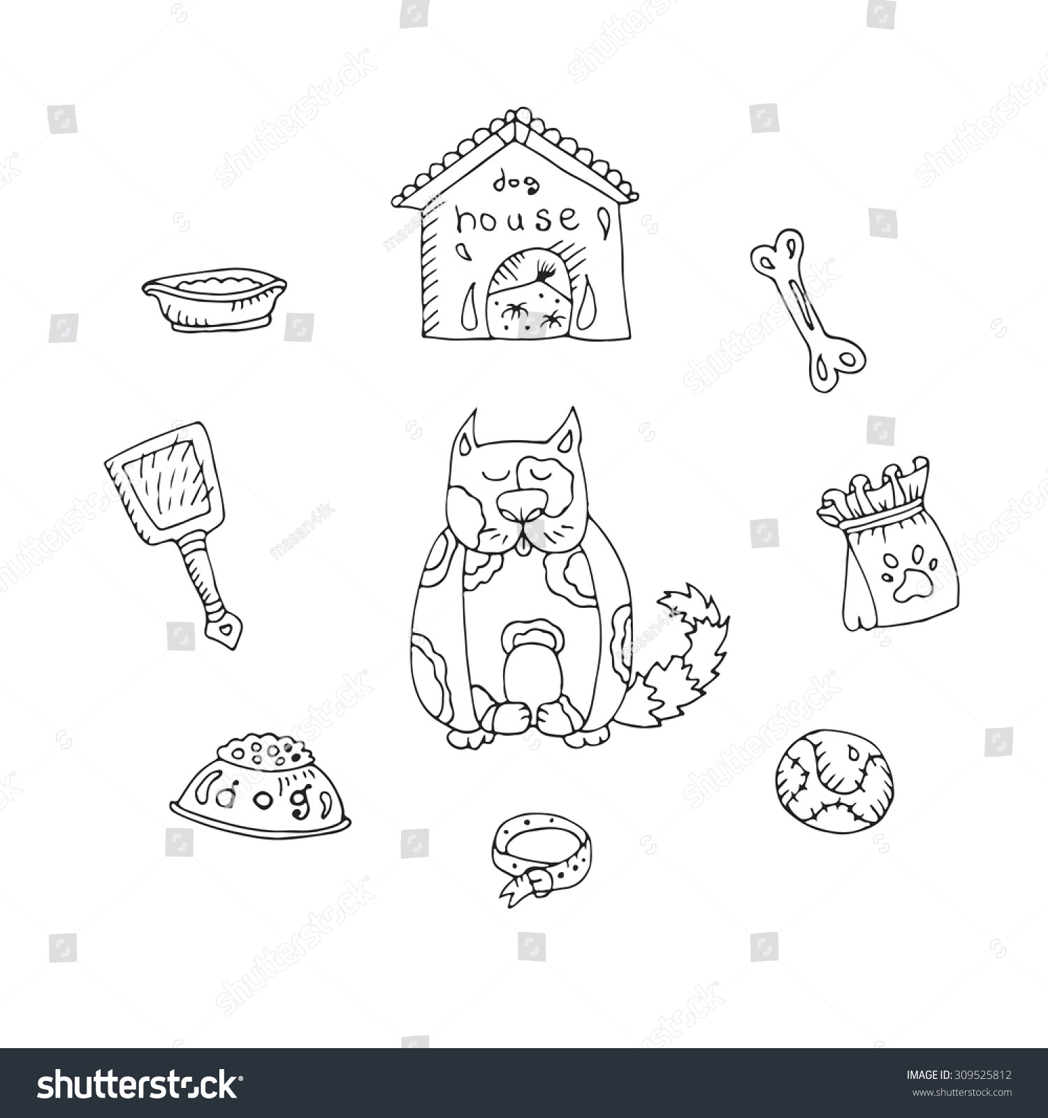 vector set for dogs various objects dog house ball bone bowl
