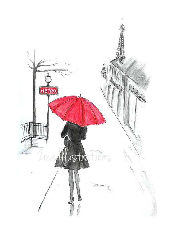 paris rain fashion illustration print red umbrella french girl paris girl bedroom art paris illus